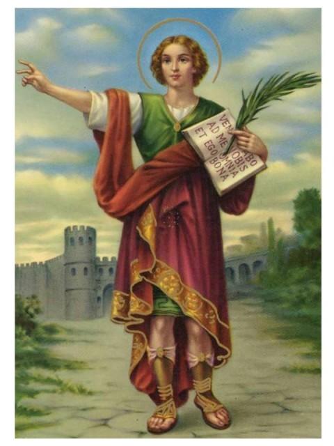 Estampita de San Pancracio; no se me ocurre ningún chiste. Por cierto, el Catolicismo se opone a las apuestas y juegos de azar, asi que todo eso de rezar a un santo, como que es ligeramente blasfemo.