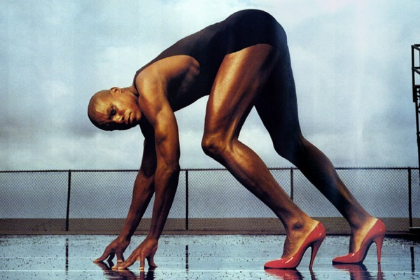 US sprinter Carl Lewis appears in a new Pirelli tyre advertisement which will be unveiled in Britain..